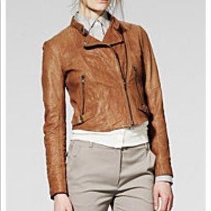 Leather crop jacket tan THEORY moto Niccola Align